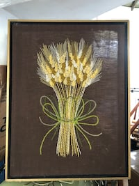 """20"""" vintage crewl embroidered picture art made of yarn of bunch wheat"""