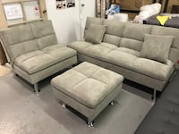 Brand new grey fabric 3pc sofa bed set warehouse sale  多伦多