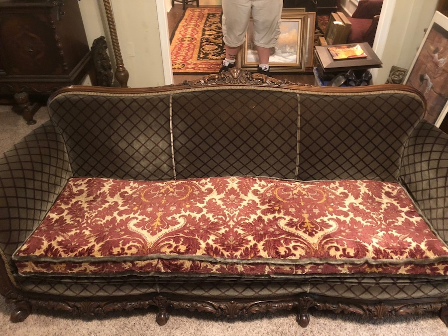 Lovely Vintage Fabric Sofa With A Carved Solid Wood Trim Must Go This  Weekend Reduced