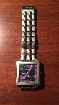 Square purple faced Geneva analog watch with silver linked bracelet St. John's, A1B 1V7