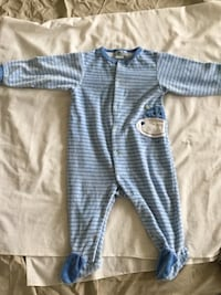 baby's blue and white stripe footie pajama