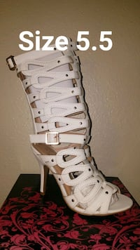 White gladiator boots