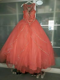 Coral 15 Año dress with extra white bottom pieces made dress more puff San Jose, 95133