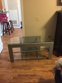 rectangular glass top table with black wooden base Reston, 20191
