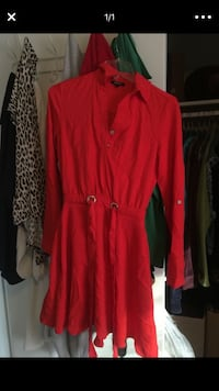 red button-up long-sleeved dress 50 km