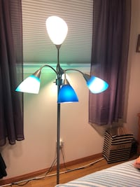 Floor lamp w/ 5 bulbs with different colour shades . Option to light 2 or all five bulbs