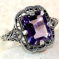 purple crystal sterling silver ring size 8 brand new SURREY