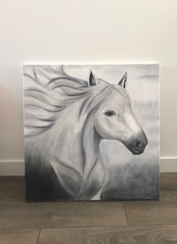 Black and white horse painting Surrey, V4P 0E8
