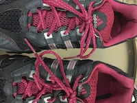 Pair of gray-and-pink adidas running shoes 3747 km