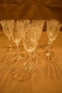 Cambridge Rose Point Crystal Water Goblets Waxhaw