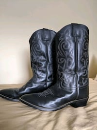 Men's Western Cowboy Boots, Black Leather, Size 12 or 13