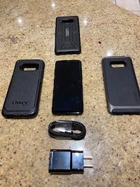Samsung S8 64gb with block and cord and choice of one case Edmonton, T6R 2E3