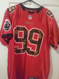 red and brown Buccaneers 99 jersey