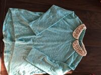 teal and white peter pan collar sweater Brentwood, 94513