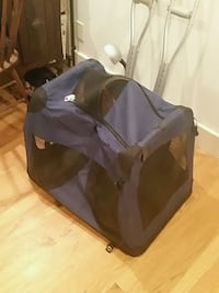 black and purple dog/cat carrier/house