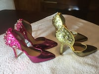 Two pair size 5 1/2 sequin ankle strap heels, both pair for $20 North Richland Hills, 76182