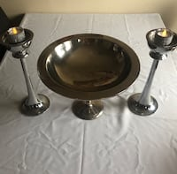 Two stainless steel Fruit bowl and candle holders Winnipeg