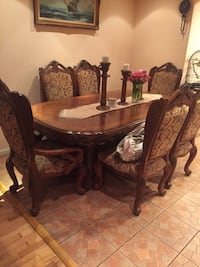 oval brown wooden table with six chairs dining set Los Angeles, 91605