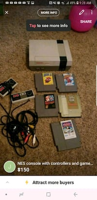 Nintendo SNES with controllers and game cartridges Bakersfield, 93314