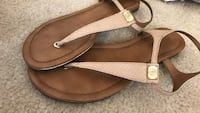Pair of brown ankle-strap leather flat sandals Las Vegas, 89183