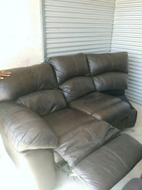 Brown leather Sofa with 3-recliners. DeSoto, 75115