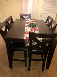 Rectangular brown wooden table with four chairs dining set Humble, 77338