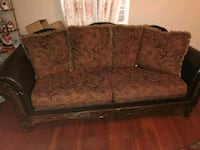 brown and black floral fabric 3-seat sofa Gaithersburg, 20879