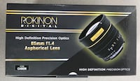 Rokinon 85mm F1.4 Aspherical Lens for Canon EF - NEW San Marcos, 92069
