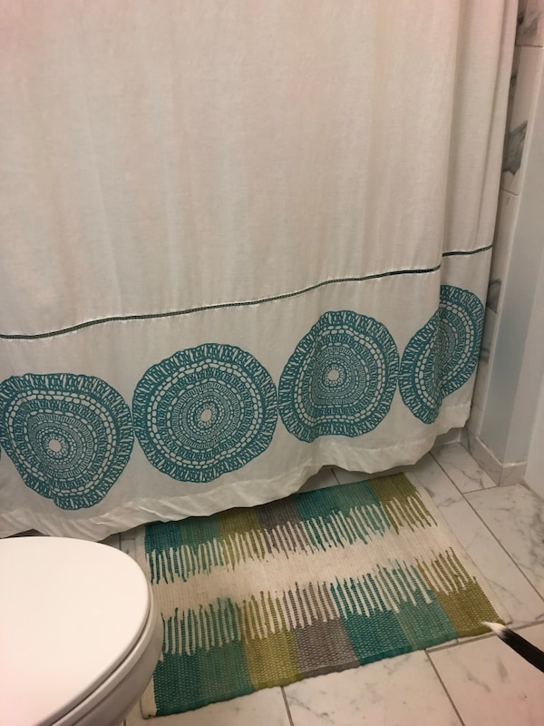 Bath rug & shower curtain