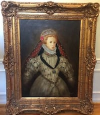 Original One of a Kind Oil Painting Estate Size Diana Mendoza Framed