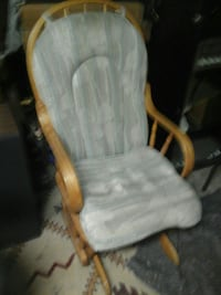 gray glider chair with beige wooden frame North Saanich, V8L 3Z5