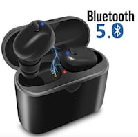 Brand Seal New In Box True Wireless Earbuds  Bluetooth 5.0 True Wireless Stereo Headphones Bass HiFi in-Ear Earphones with Charging Case/Mic/Noise Cancelling/Sweatproof/6 Hours Playback for Gym/Running/Workout-Black Hayward, 94544
