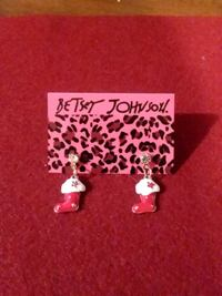 BETSEY JOHNSON ENAMEL, CRYSTAL CHRISTMAS BOOT EARRINGS Philadelphia, 19152