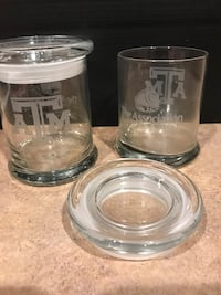 Set of A&M Aggie Thick Covered Glass Jars with School Etched on them Cibolo, 78108