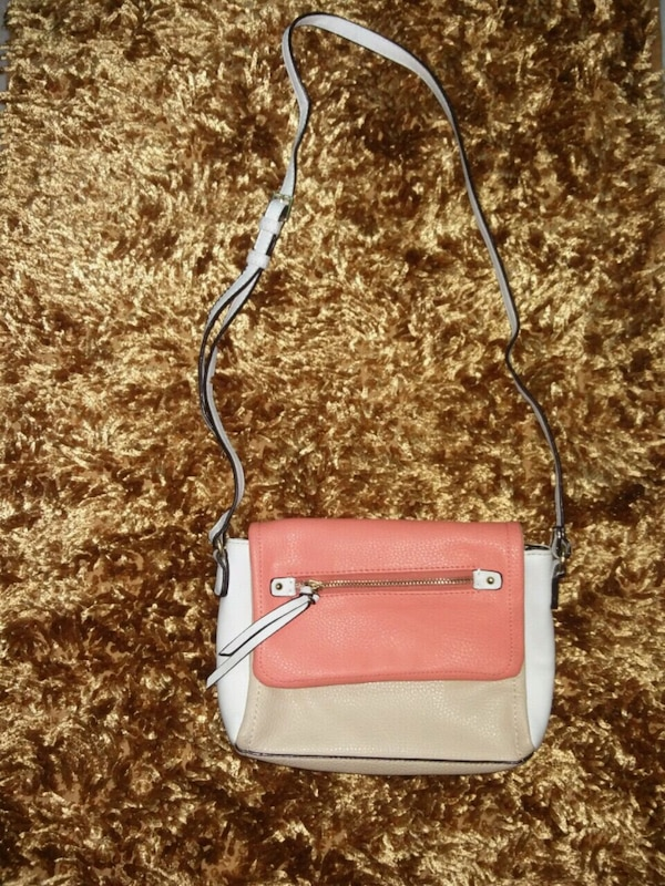 white and red leather crossbody bag
