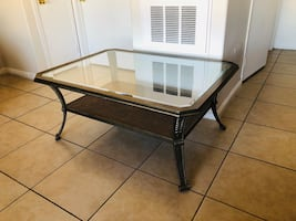 Glass top coffee table :)