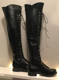 Size 10 brand new black over the knee boot with fleece insole