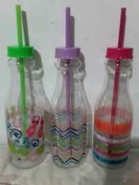 New 3 Colorful Bottles With  Straws. All For $5.00