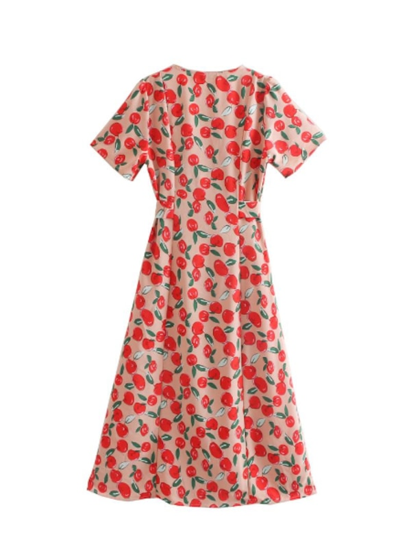 MACKZIE APPLE PRINT LONG DRESS IN RED  0