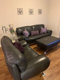Leather black sectional & ottoman