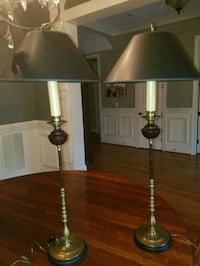 Pair of high end brass lamps black lampshade  Mooresville