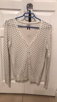 White and black polka dot cardigan from Dynamite  Vancouver, V5N 5Y9
