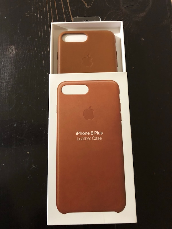 iPhone 8 Plus apple brown leather case