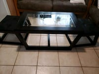 Dark Brown/Glass Coffee Table & 2 Footrests Vancouver, V5N 1H6