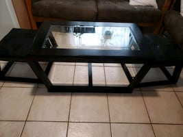 Dark Brown/Glass Coffee Table & 2 Footrests