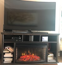 Electric fire place storage unit tv stand