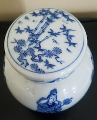 Vintage CHINESE BLUE & WHITE PORCELAIN GINGER JAR w/Lid and Cover Acworth