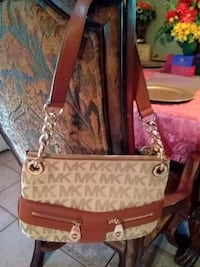 brown and white monogrammed Michael Kors leather t Laredo, 78045