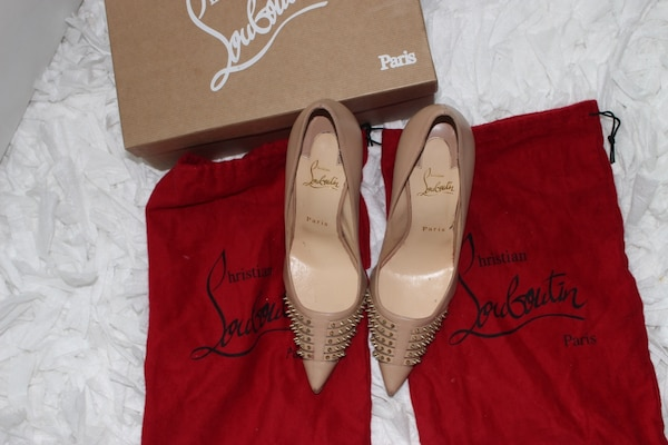 d083a9e35f58 Used Christian Louboutin Bereta 100 Nude Gold Spiked Pumps Size 39 ...