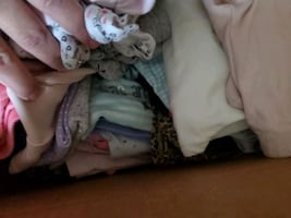 Boxes of kids clothes